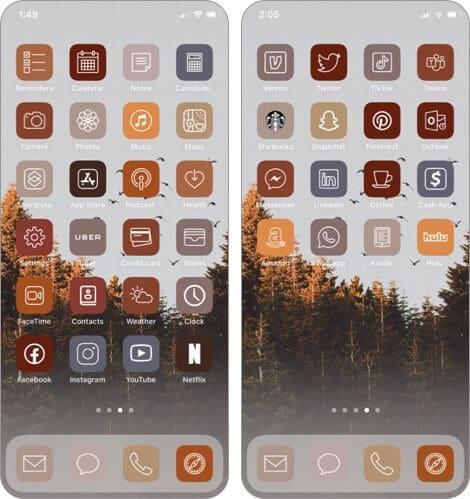 Herbst ästhetische App Icon Pack für iPhone und iPad
