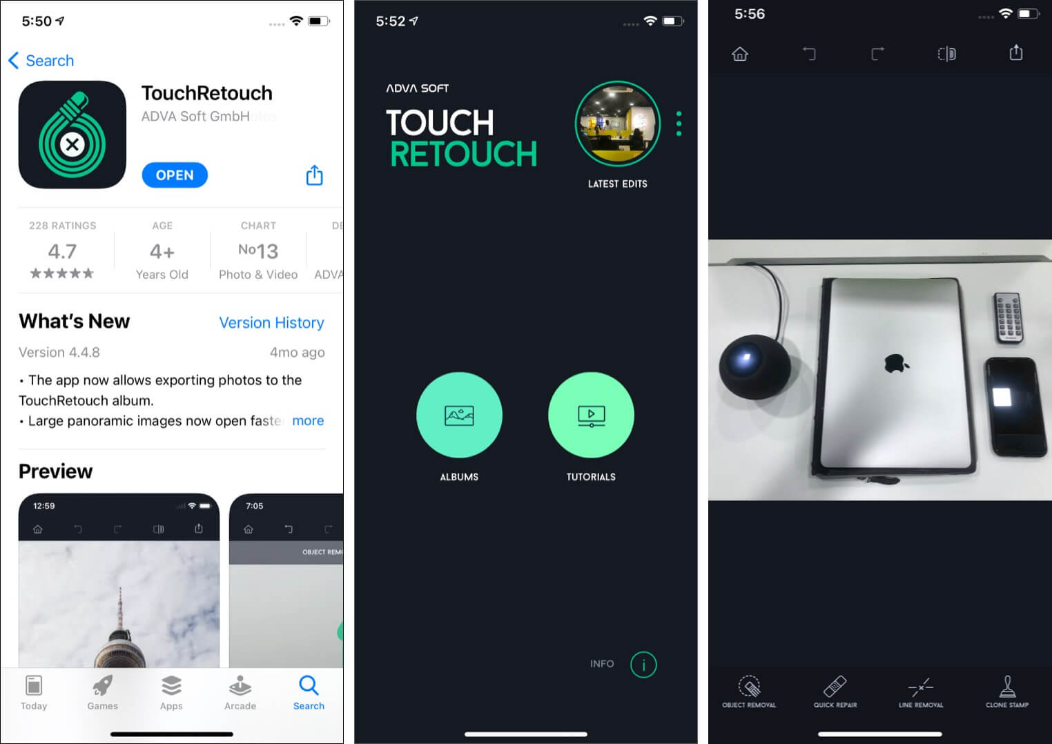 Features of TouchRetouch app on iPhone and iPad