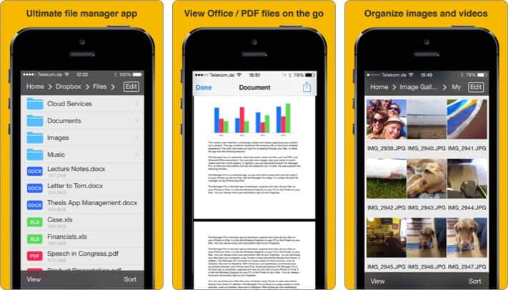file manager iphone and ipad app screenshot