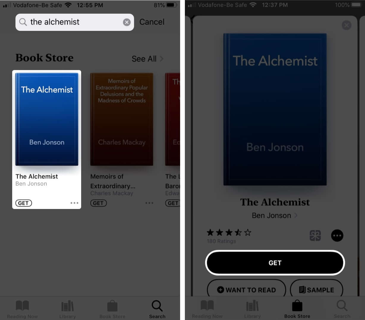find free ebooks in books app on iphone and tap on get to download