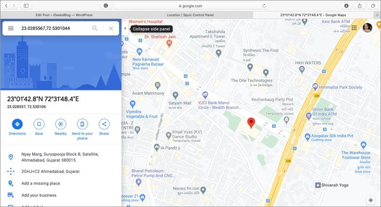 find map for location using spyic tracking software