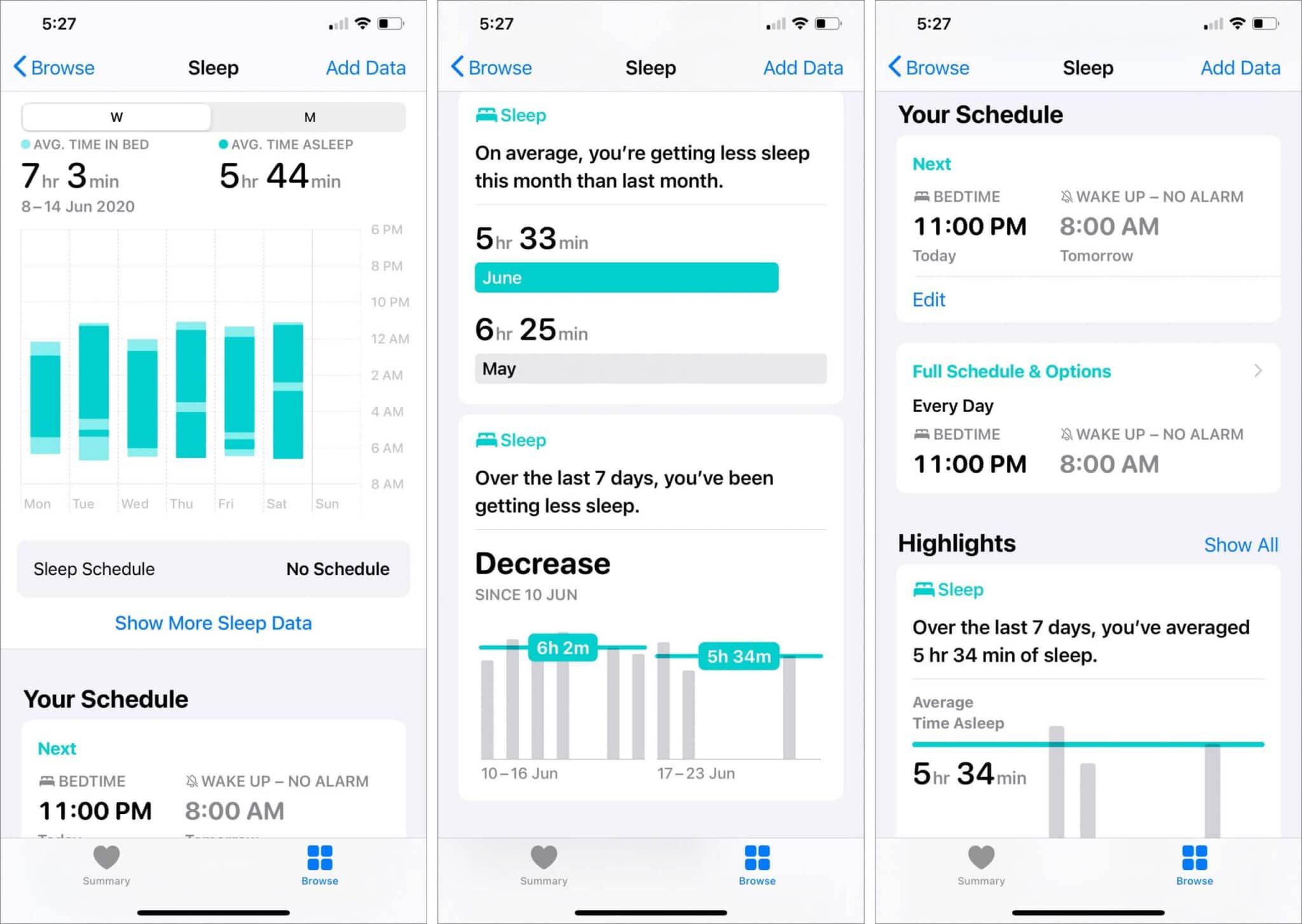 find sleep tracking data on iphone