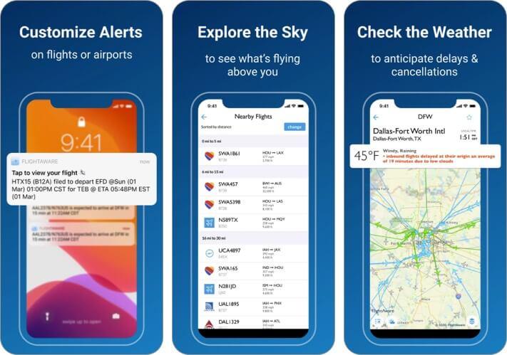 FlightAware Flight Tracking iPhone and iPad App Screenshot
