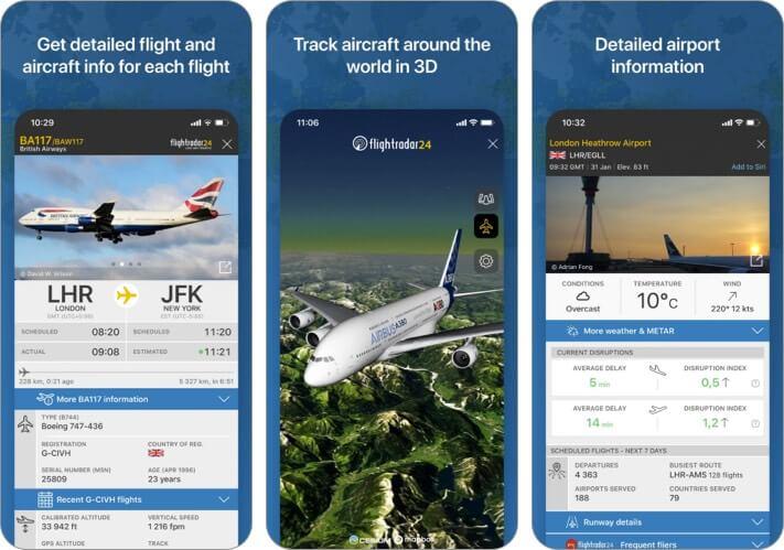 Flightradar24 Flight Tracking iPhone and iPad App Screenshot