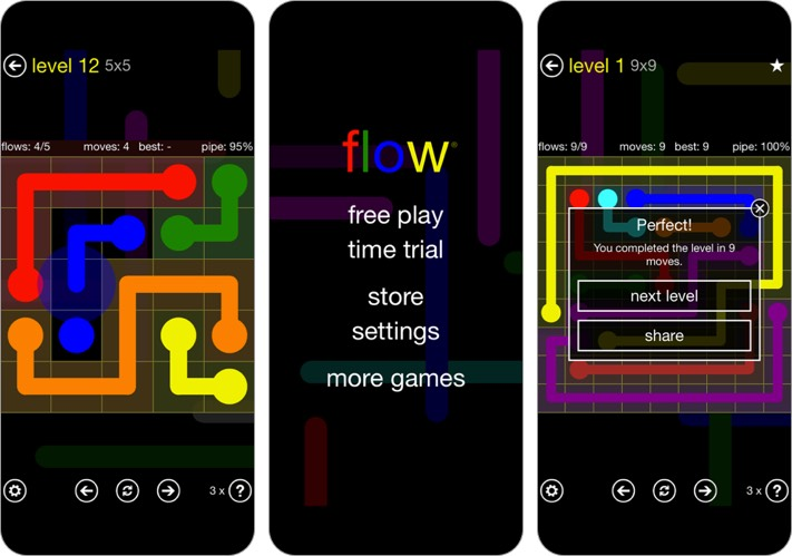 flow free iphone and ipad puzzle game screenshot
