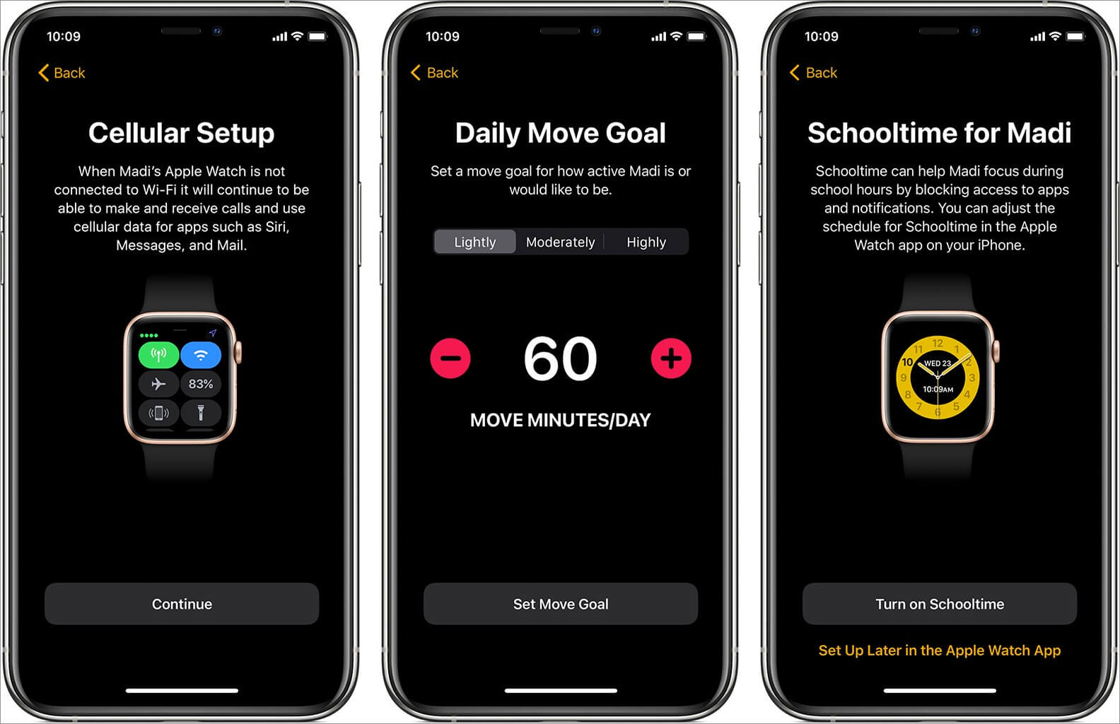 follow on screen instruction to set up an apple watch for family member
