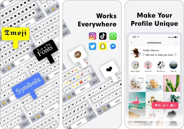Fonts and Symbol Keyboard iPhone App Screenshot