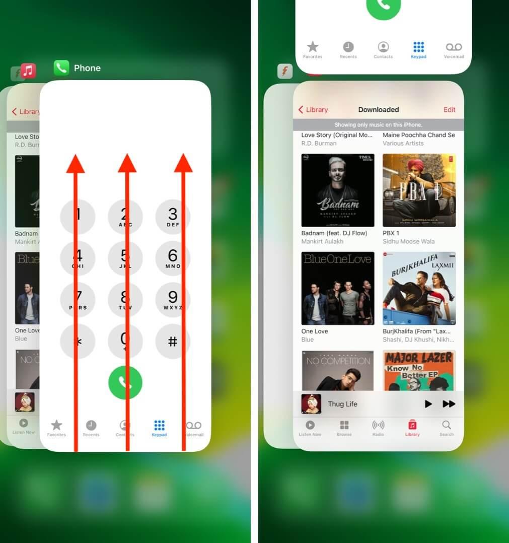 Beenden der Telefon-App auf dem iPhone erzwingen