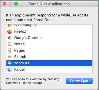 Force Quit Zoom app
