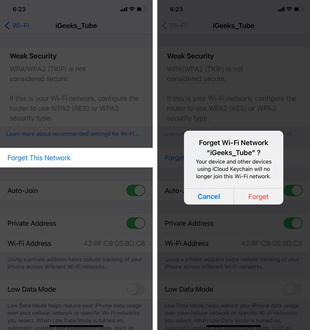 forget wi-fi network on iphone