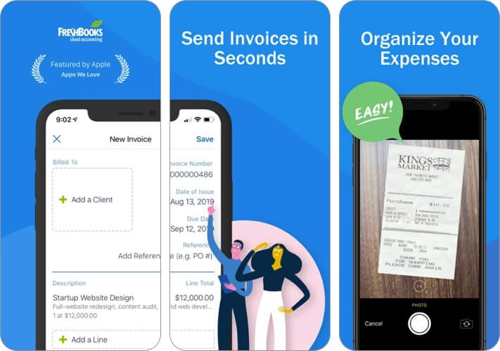 freshbooks cloud accounting iphone and ipad invoice app screenshot