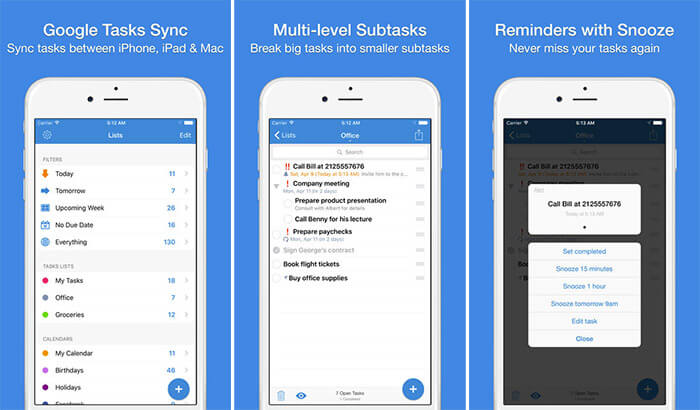 gTasks Pro Apple Watch and iPhone App Screenshot
