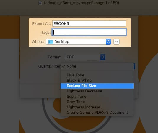 give name to pdf file and select reduce file size in preview app on mac