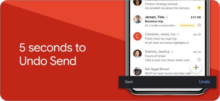 Screenshot der E-Mail-App von Google Mail für iPhone und iPad