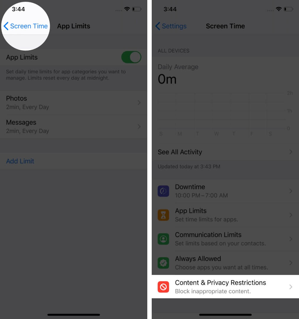 go back to screen time and tap on content & privacy restrictions on iphone