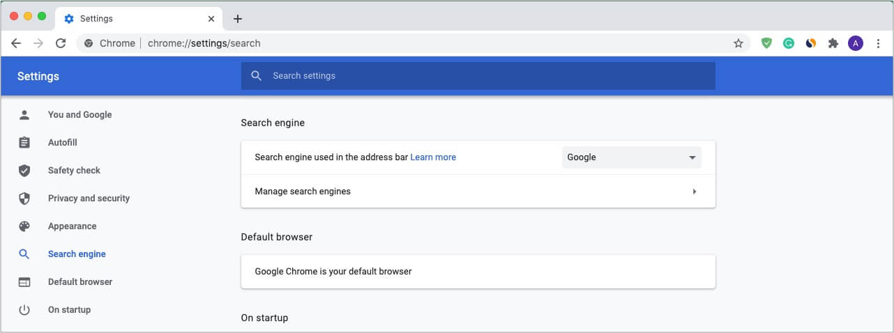 Go to Chrome Settings click Search engine and then click Manage search engines