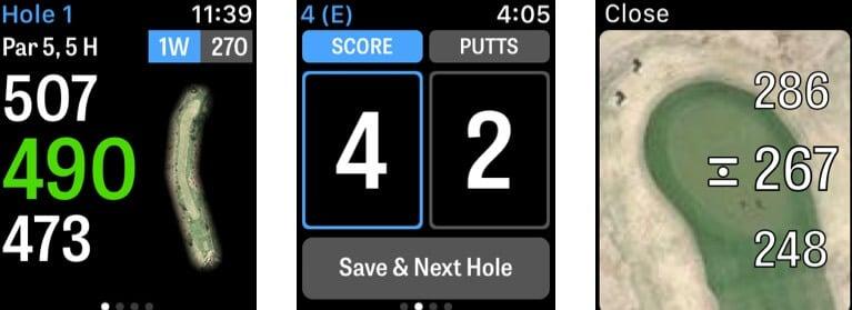 Golfshot Apple Watch App Screenshot