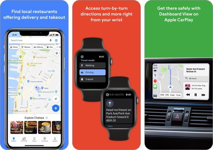 Google Maps iPhone CarPlay App Screenshot