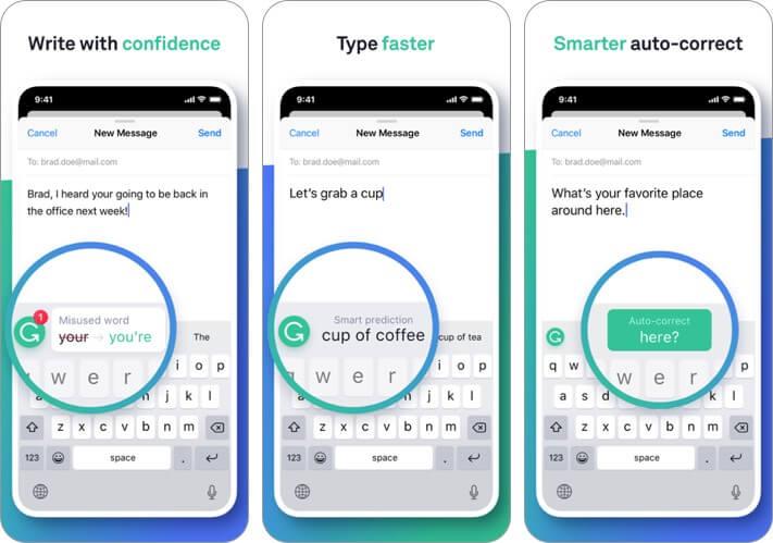 grammarly keyboard iphone and ipad app screenshot