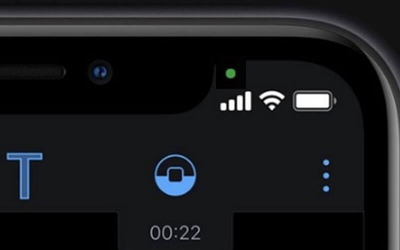 green dot on iphone status bar