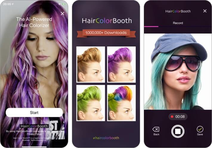 haircolor booth hairstlying app for iPhone and iPad screenshot