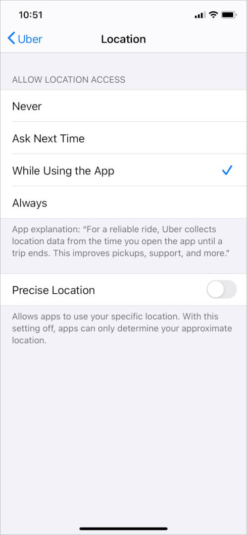 hide precise location in ios 14 on iphone