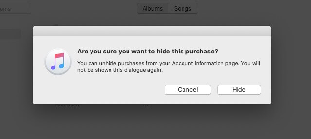 Hide Purchased Music on Mac