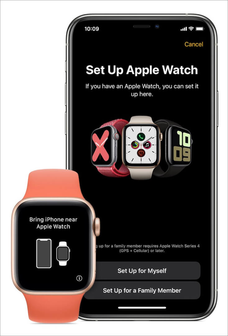 hold apple watch near iphone and tap on set up for family member