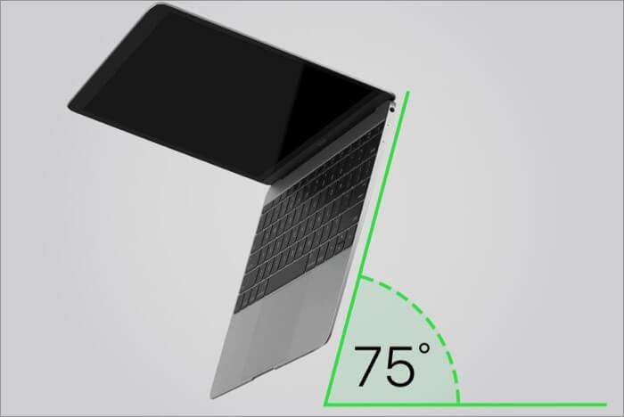Halten Sie das Macbook bei 75 Grad