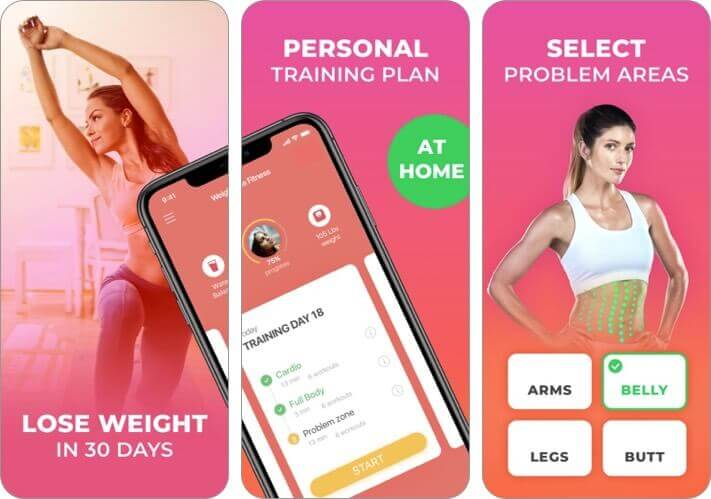 home fitness for weight loss iphone and ipad app screenshot