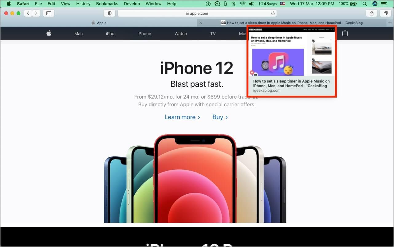 How Safari tab preview in macOS looks