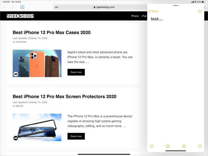 How Slide Over Looks on iPad