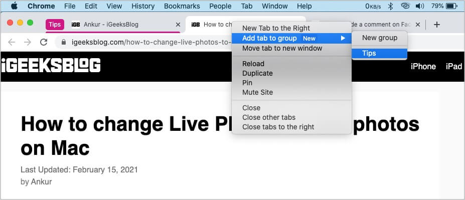 How to add a tab to a Google Chrome Group