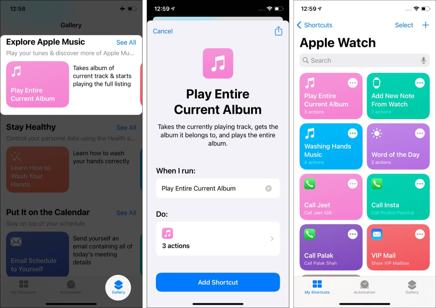 How to add shortcuts to Apple Watch