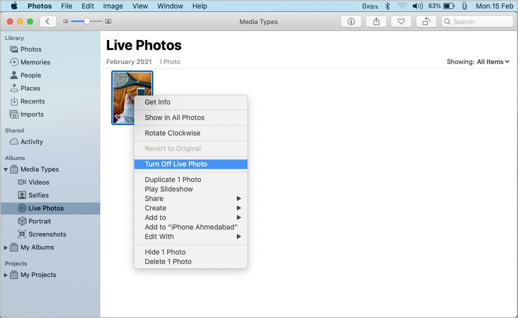 How to change Live photos to Still in Photos app for Mac