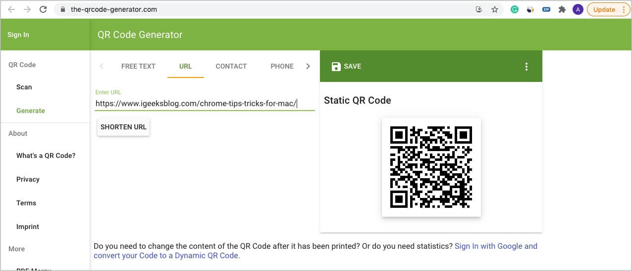 How to create QR codes quickly