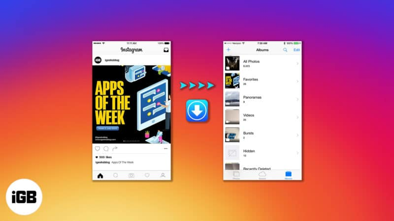 how to download instagram photos and-videos to iphone camera roll