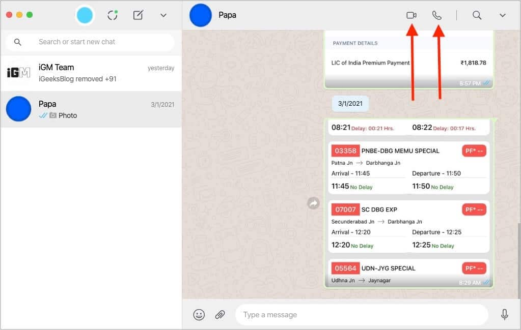 How to make a WhatsApp video or audio call from Mac