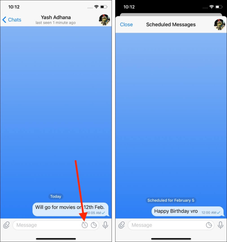 How to see scheduled messages on Telegram