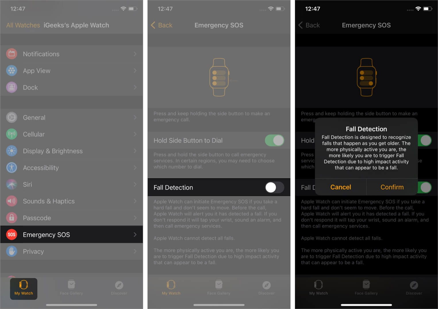 How to turn on fall detection on Apple Watch