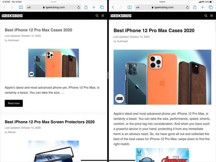 How Two Safari Windows Look in Split View Mode on iPad