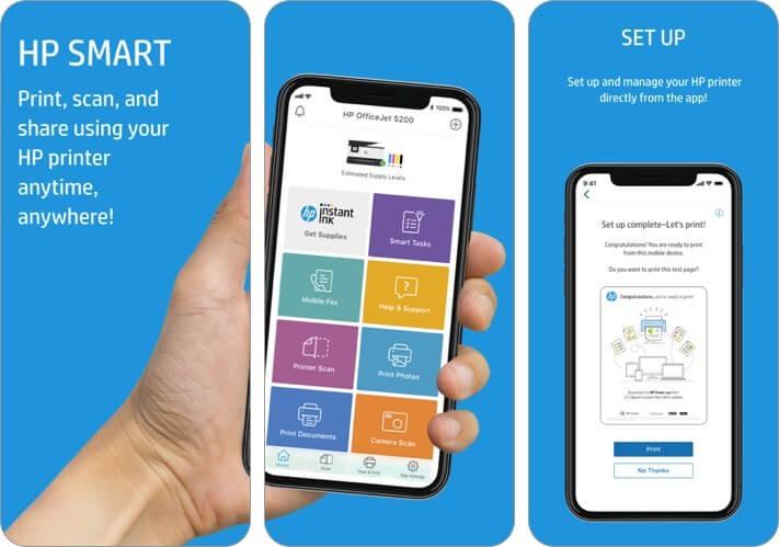 hp smart iphone and ipad printing app screenshot