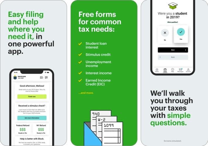 h&r iphone and ipad tax app screenshot