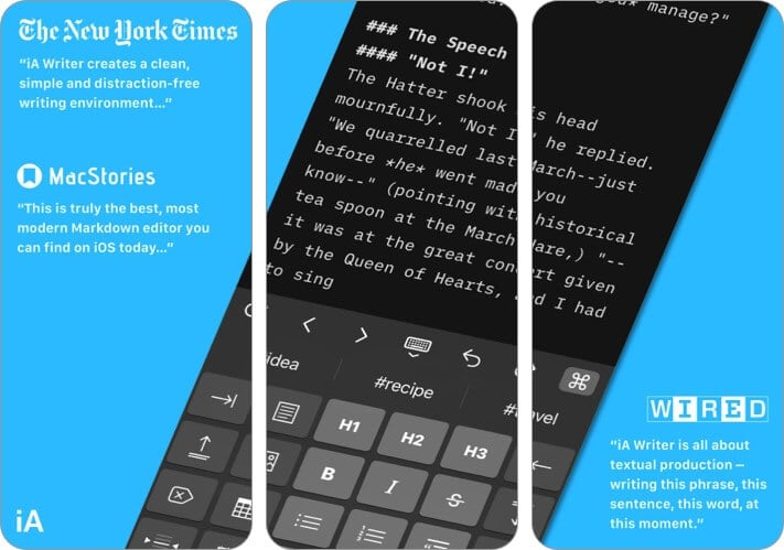 iA Writer best text editor for iPhone and iPad screenshot