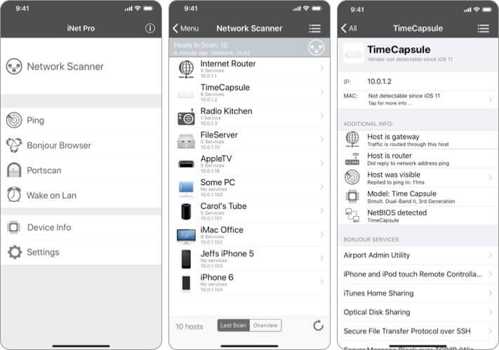 iNet Pro Network Scanner Security iPhone and iPad App Screenshot