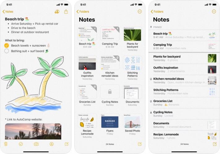 iOS Notes App Screenshot