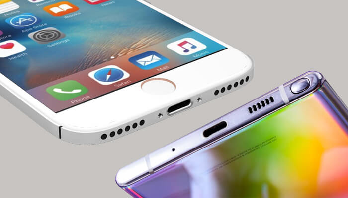 iPhone 7 without headphone jack and Galaxy S10 Note without headphone jack