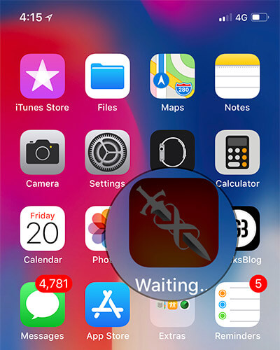 iPhone Home Screen with App Waiting to Download