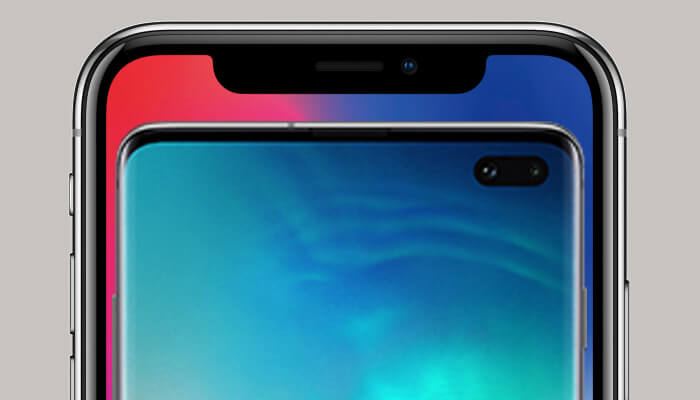 iPhone X Notch Display and Samsung Galaxy S10 with Punch Hole Display