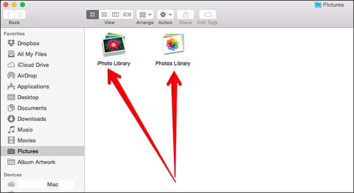 iPhoto and Photos Library Option in Pictures Folder in Mac OS X